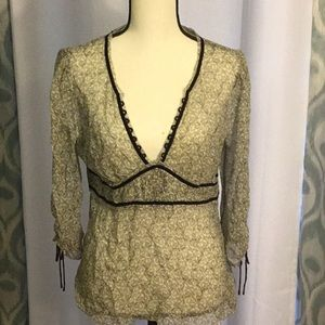 White House V Neck Silk Blouse size M